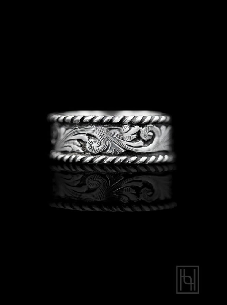 Western Silver & Rope Ring