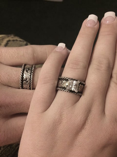 Western Silver & Rope Ring Matching Set R058-&-R059-Customer-Pic