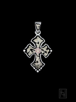 Budded Cross Pendant w/ Created Pearl