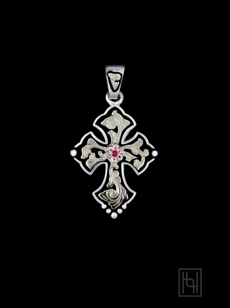 Budded Cross Pendant w/ Ruby Red