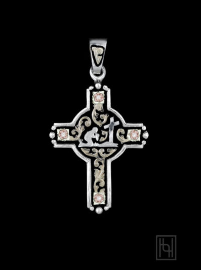 Praying Cowboy Cross Pendant with Crystal Clear