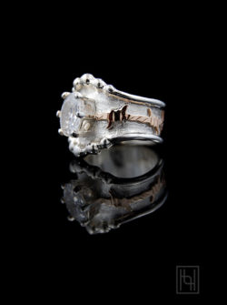 Barbed Wire & Oval Crystal Ring