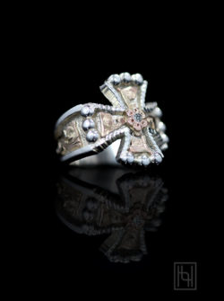 Chopper Cross Silver & Gold Ring in Crystal Clear