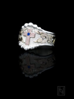 Western Cross Ring w/ Crystal Clear