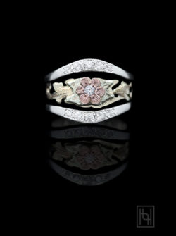 Rose Flower & Silver Ring