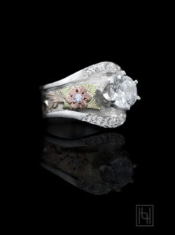 Rose Flower Crystal Ring