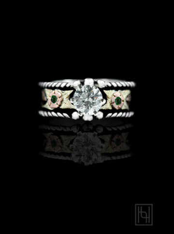 Crystal Rope Ring w/ Green Accents