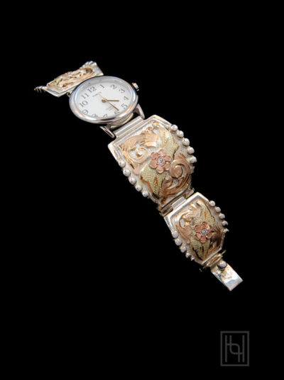 Ladies Decorated Watch Band - White/Silver Rim Face w/ Crystal Clear - Silver