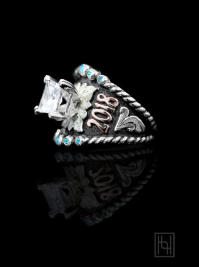 Hyo Silver Ring Blue Topaz Accents, Silver Scrolls & Oxidized, Rose Gold Lettering