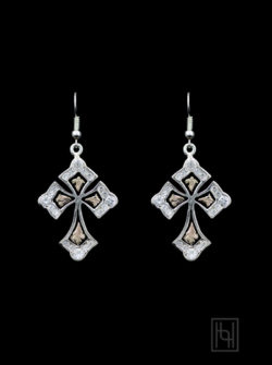 Bijou Cross Earrings w/ Crystal Clear