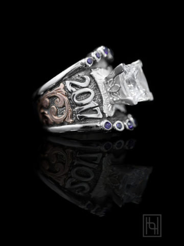Custom Statement Ring w/ Accent Stones-RG Scrolls & Oxidized