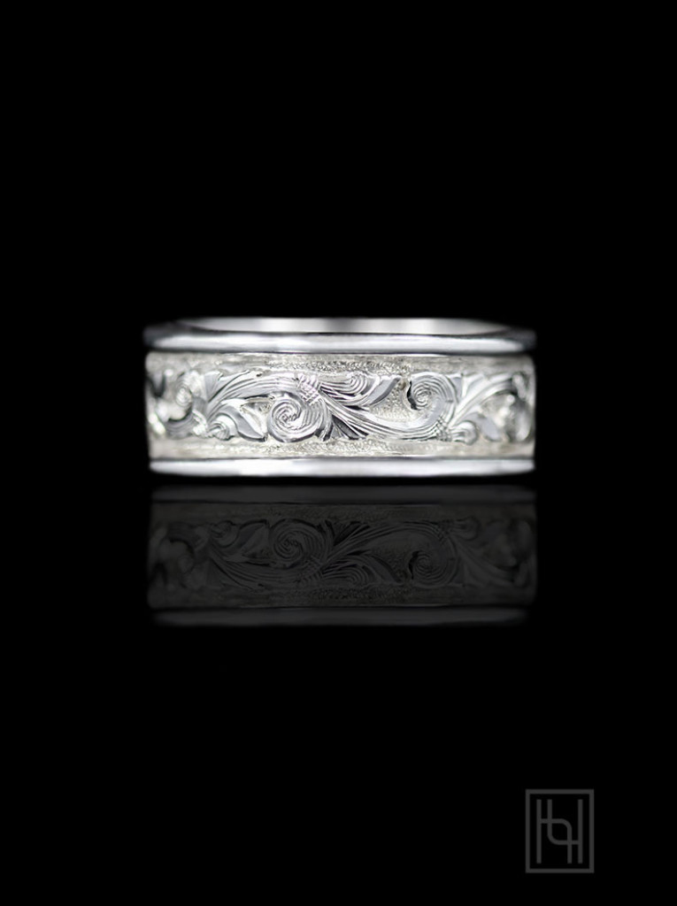 Classic Bright Silver Scroll Ring