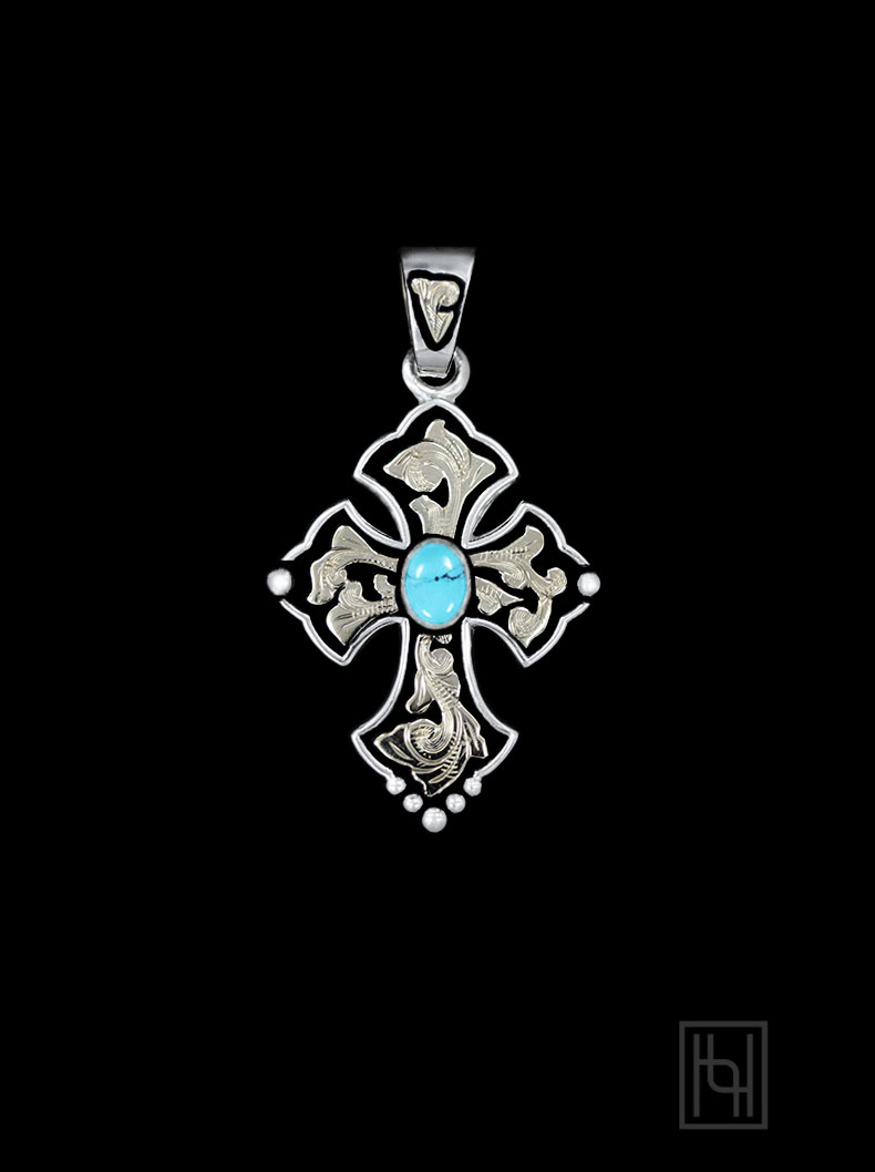 RimRock Blue Turquoise Budded Cross Pendant