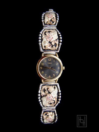 Ladies Decorated Watch Band - Black/Gold Rim Face w/ Crystal Clear
