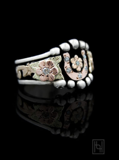 Horseshoe & Flower Ring with Crystal Clear Accents
