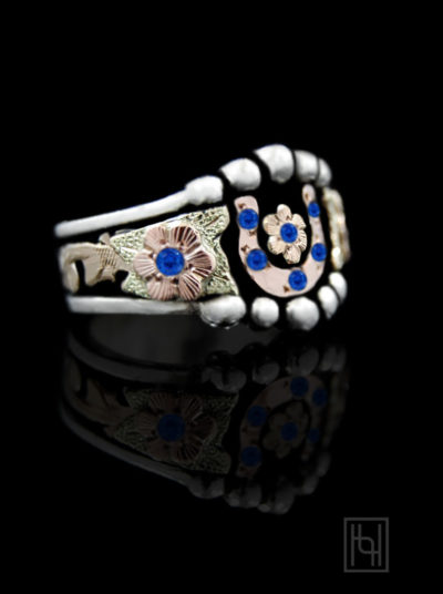 Horseshoe & Star Ring w/ Blue Accents
