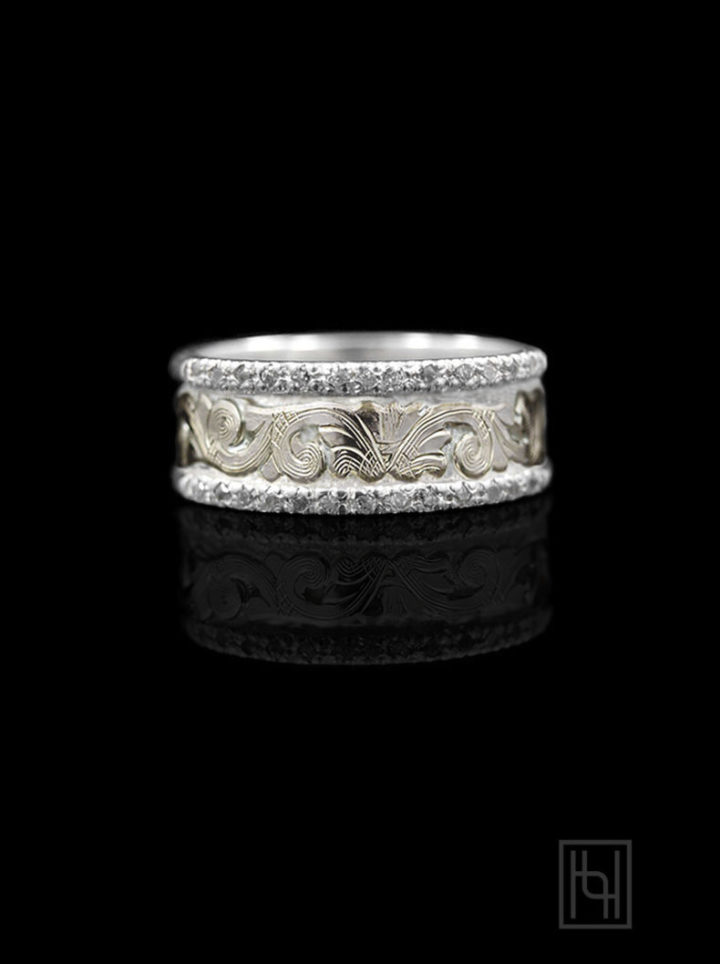 Bright Gold Scrolled Silver & Crystal Band