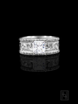 Bright Scrolled Silver & Crystal Solitaire Ring