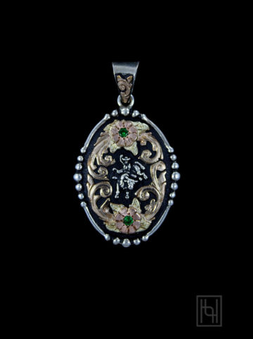 Bull Rider Rodeo Medallion w/ Crystal Clear