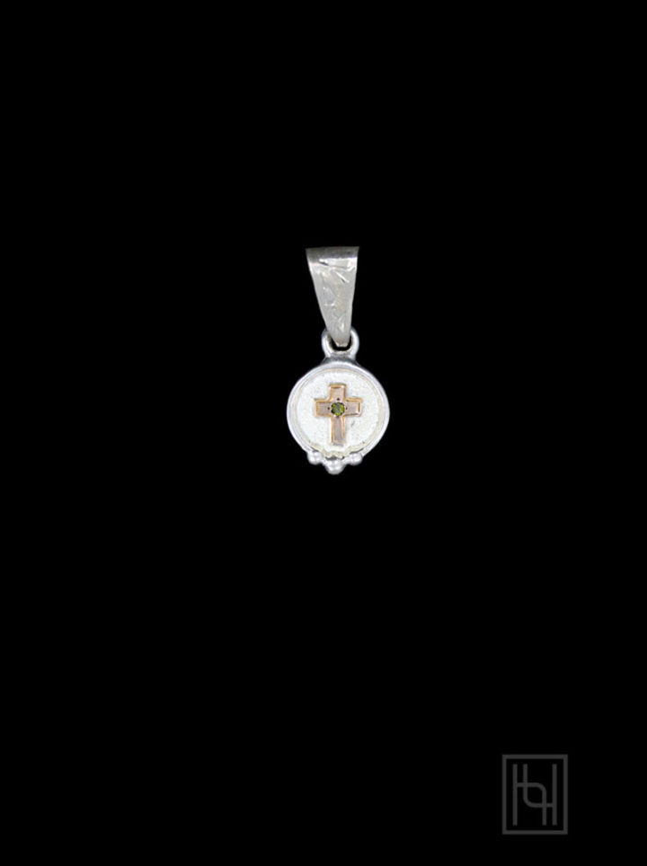 Cross Button Pendant w/ Crystal Clear