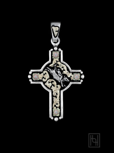 Bull Rider Rodeo Event Cross with Crystal Clear