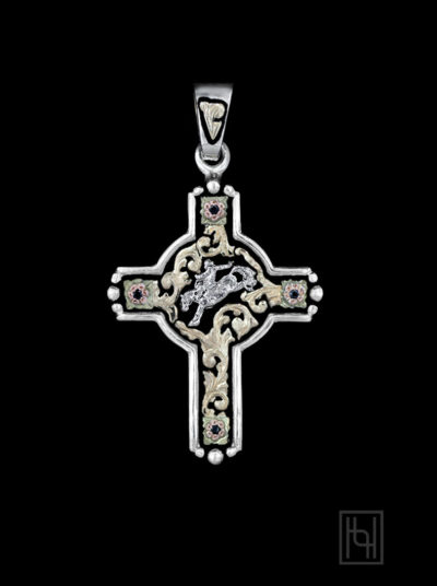 Saddle Bronc Rider Rodeo Event Cross with Blackest Black
