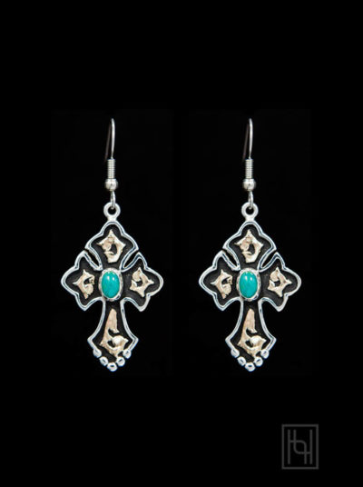 RimRock Budded Cross Earrings w/ Created Opal