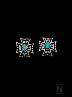 RimRock ™ Western Cross Earrings w/ Blue Turquoise & Posts RRER007-PBT