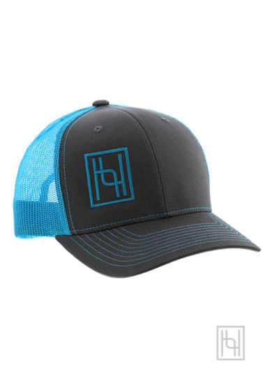 Hyo Silver Trucker Cap in Neon Blue