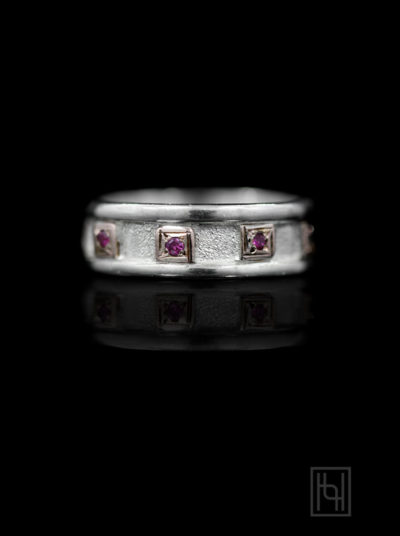 Color Blocks Ring w/ Ruby Red