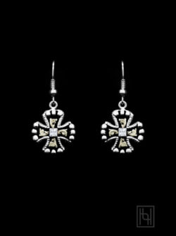 Crystal Chopper Cross Earrings w/ Black Antique