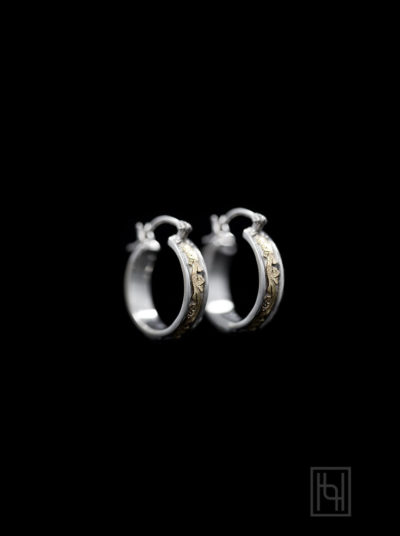 Small Round Hoop Earrings w/ Silver & Gold